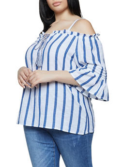 Plus Size Striped Linen Cold Shoulder Top - 0803056121161
