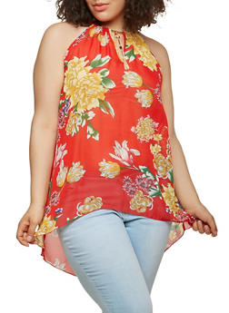 Plus Size Printed Keyhole Tank Top - 0803056122864