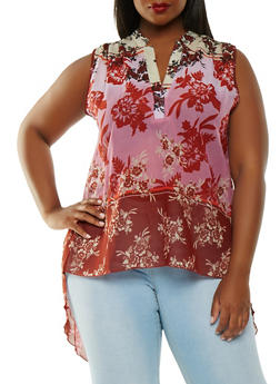Plus Size Printed High Low Top - 0803056122925