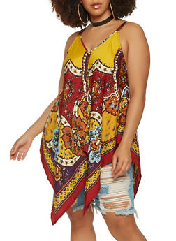 Plus Size Printed Sharkbite Cami - 0803056122988