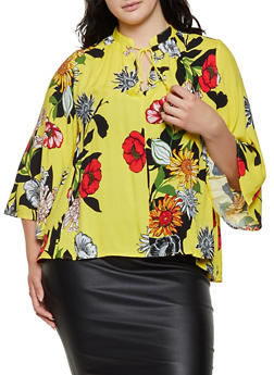 Plus Size Floral Tassel Tie Neck Top - 0803056123500