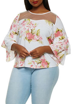 Plus Size Floral Tiered Sleeve Top - 0803056124268