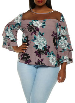 Plus Size Mesh Yoke Printed Top - 0803056124269