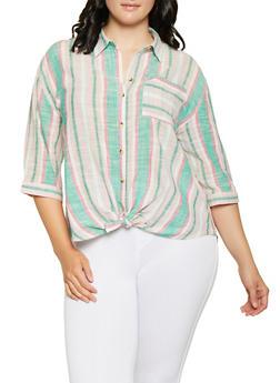 Plus Size Tie Button Front Striped Shirt - 0803056125098