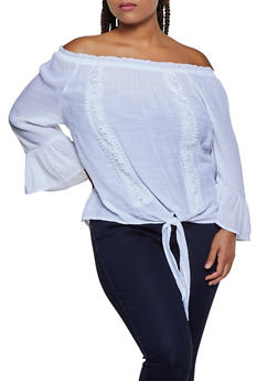 Plus Size Off the Shoulder Bell Sleeve Peasant Top - 0803056125162