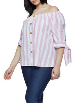 Plus Size Striped Linen Off the Shoulder Top - 0803056125174