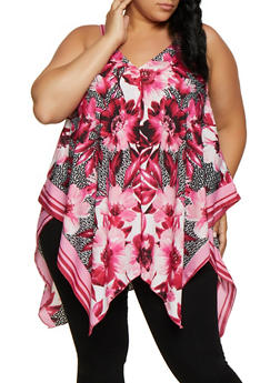 Plus Size Animal Floral Print Sharkbite Hem Top - 0803056125184