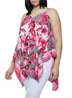 Plus Size Floral Border Print Sharkbite Top - 0803056125185