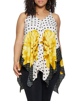 Plus Size Large Flower Polka Dot Sharkbite Top - Multi - Size 2X - 0803056125187