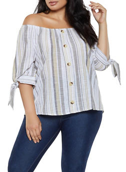 Plus Size Off the Shoulder Striped Linen Top - 0803056125341