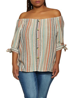 Plus Size Striped Linen Off the Shoulder Top | 0803056125372 - 0803056125372