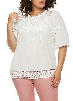 Plus Size Crochet Trim Top - 0803058750641