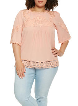Plus Size Crochet Trim Top - 0803058750641