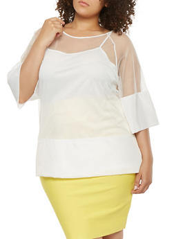 Plus Size Mesh Tunic Top - 0803058750657