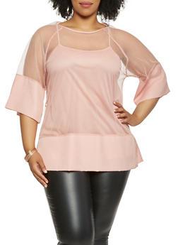 Plus Size Mesh Tunic Top - 0803058750657