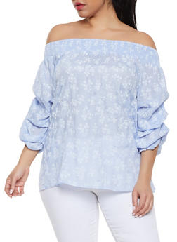 Plus Size Gauze Knit Floral Off the Shoulder Top - 0803058750658