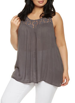 Plus Size Lace Yoke Tank Top - 0803061630328
