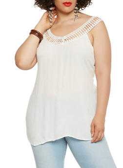 Plus Size Crochet Trim Tank Top - 0803061633290