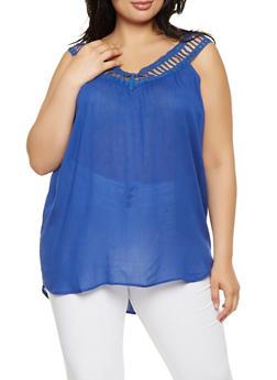 Plus Size Crochet Trim Tank Top - 0803061633290