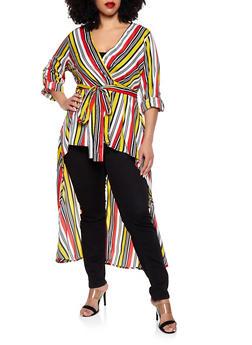 Plus Size Striped High Low Wrap Top - 0803061635543