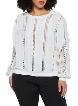 Plus Size Crochet Trim Pleated Top - 0803062123067
