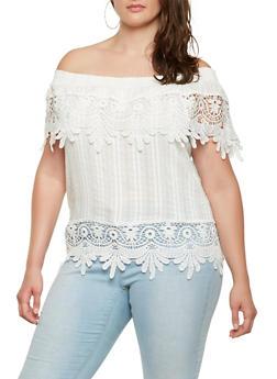 Plus Size Crochet Trim Off the Shoulder Top - 0803062123123