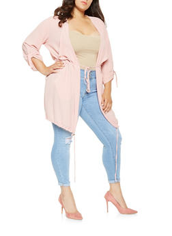 Plus Size Drawstring Detail Flyaway Jacket - 0803062700022