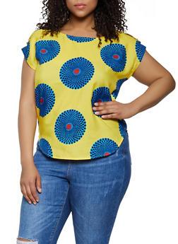 Plus Size Printed Tab Shoulder Top - 0803063508907