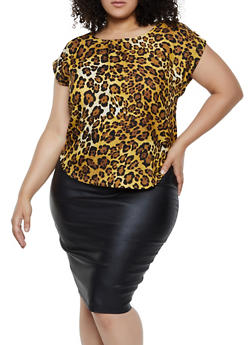 Plus Size Brown Print Blouses