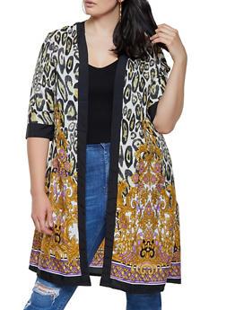Plus Size Leopard Border Print Kimono - 0803063508910