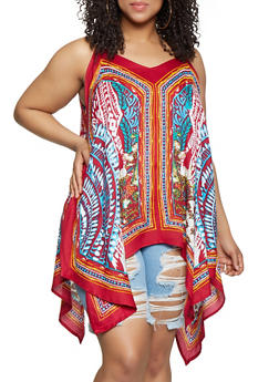Plus Size Printed Sleeveless Sharkbite Top - 0803063508911