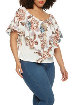 Plus Size Floral Overlay Top with Necklace - 0803070470176