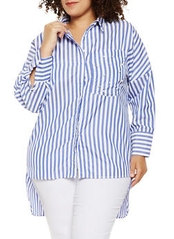Plus Size Faux Pearl Studded Striped Tunic Top - 0803070930091