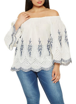 Plus Size Off the Shoulder Embroidered Top - 0803070935636