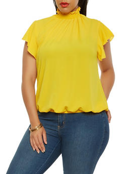 Plus Size Smocked Neck Flutter Sleeve Top - 0803072240025