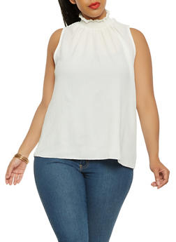 Plus Size Sleeveless Smocked Neck Top - 0803072240206