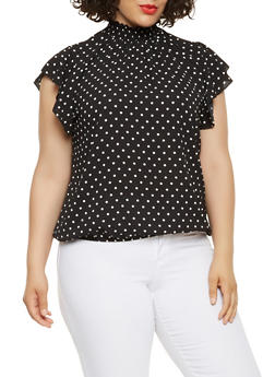 Plus Size Polka Dot Crepe Knit Blouse - 0803072242025