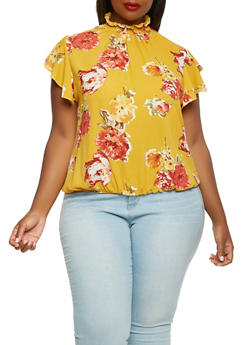 Plus Size Smocked Neck Floral Top - 0803072247722