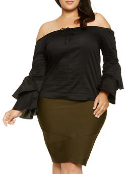 Plus Size Tiered Sleeve Off the Shoulder Top - 0803074014902