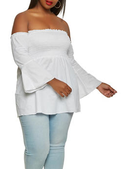 Plus Size Off the Shoulder Babydoll Top - 0803074015345