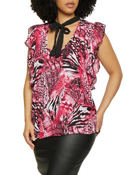Plus Size Printed Tie Neck Top | 0803074015695 - 0803074015695