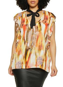 Plus Size Printed Tie Neck Top | 0803074015695 - 0803074015695