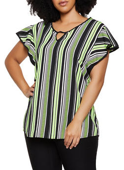 Plus Size Striped Flutter Sleeve Top - 0803074017280