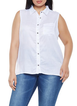 Plus Size Sleeveless Button Front Top - 0803074180023