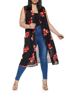 Plus Size Sleeveless Printed Duster - 0803074180028