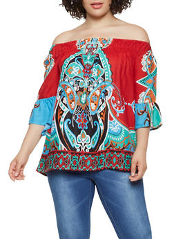 Plus Size Printed Off the Shoulder Top - 0803074180036
