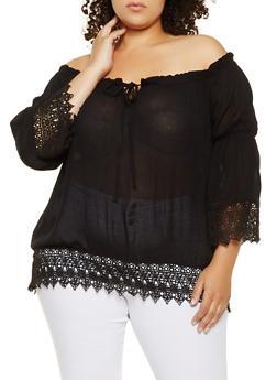 Plus Size Crochet Trim Off the Shoulder Top - 0803074180042