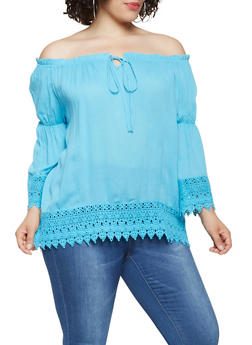 Plus Size Crochet Trim Off the Shoulder Top - 0803074180042