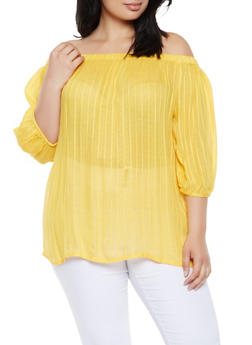 Plus Size Striped Off the Shoulder Tunic Top - 0803074182023
