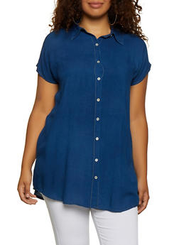 Plus Size Chambray Button Front Tunic Top - 0803074186521